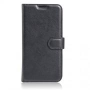 Δερμάτινη Θήκη Πορτοφόλι με Βάση Στήριξης για Motorola Moto E3 / E3 Power - Μαύρο