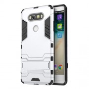 Solid PC + TPU Hybrid Case with Kickstand for LG V20 - Silver