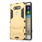 Solid PC + TPU Case Hybrid Shell with Kickstand for LG V20 - Gold