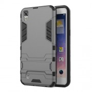 Υβριδική Θήκη Συνδυασμού Σιλικόνης TPU και Πλαστικού με Βάση Στήριξης για LG X Power - Γκρι