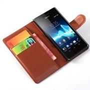 Δερμάτινη Θήκη Πορτοφόλι με Βάση Στήριξης για Sony Xperia Z3 Compact D5803 M55w - Καφέ