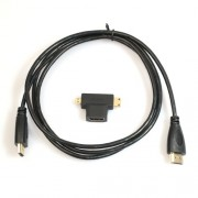 Super Slim 1.5M HDMI Cable with HDMI Female to Mini and Micro HDMI Male Adapter