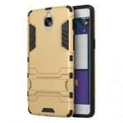Θήκη Συνδυασμού Σιλικόνης TPU και Πλαστικού και Βάση Στήριξης για OnePlus 3 / 3T - Χρυσαφί