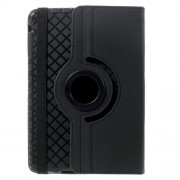 Twill Grain Leather Case w/ 360 Degree Rotatory Stand for iPad Mini / Mini 2 / Mini 3 - Black