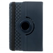 Twill Grain Leather Cover w/ 360 Degree Rotatory Stand for iPad Mini / Mini 2 / Mini 3 - Dark Blue