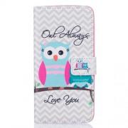 Δερμάτινη Θήκη Πορτοφόλι με Βάση Στήριξης για Samsung Galaxy J7 (2016) - Κουκουβάγια Μαμά με τη Φράση Owl Always Love You