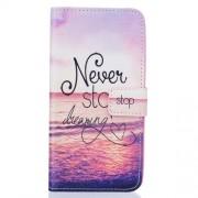 Δερμάτινη Θήκη Πορτοφόλι με Βάση Στήριξης για Samsung Galaxy J7 (2016) - Ηλιοβασίλεμα με τη Φράση Never Stop Dreaming