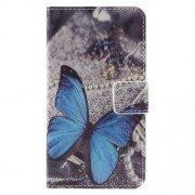 Stylish Illustration Leather Protective Phone Case for Samsung Galaxy J1 (2016) - Blue Butterfly