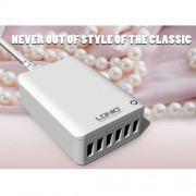LDNIO A6703 Αντάπτορας Τοίχου με 6 Θύρες USB 7Α για Όλες τις Ηλεκτρονικές Συσκευές - Λευκό