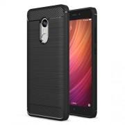 Carbon Fibre Brushed TPU Case for Xiaomi Redmi Note 4 - Black