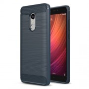Carbon Fibre Brushed TPU Case Cover for Xiaomi Redmi Note 4 - Dark Blue