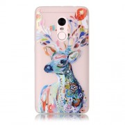 Noctilucent Patterned TPU Cover for Xiaomi Redmi Note 4 - Floral Deer Painting