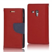 Mercury GOOSPERY Fancy Diary Δερμάτινη Θήκη Πορτοφόλι με Βάση Στήριξης για Samsung Galaxy S III / 3 Mini I8190 - Κόκκινο/Σκούρο Μπλε