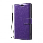 Folio Leather Wallet Stand Case for Sony Xperia XZ with Wrist Strap - Purple