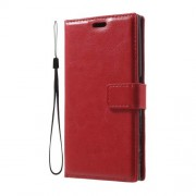 Crazy Horse PU Leather Wallet Stand Shell for Sony Xperia XZ with Wrist Strap - Red