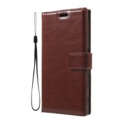 Wallet Stand Leather Protective Cover for Sony Xperia XZ with Wrist Strap - Brown