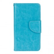 Crazy Horse Grain Wallet Leather Case Cover for Samsung Galaxy J1 (2016) - Blue