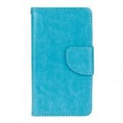 Δερμάτινη Θήκη Πορτοφόλι με Βάση Στήριξης με Εξώραφα για Samsung Galaxy J1 (2016) - Μπλε