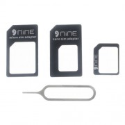 D9ELEMENT 4-in-1 Nano to Micro/Normal SIM Card Adapter + Eject Pin - Black
