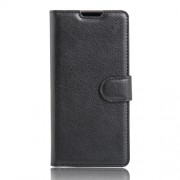 Litchi Skin Leather Wallet Case for Sony Xperia XA / XA Dual - Black