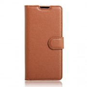 Litchi Skin Leather Wallet Case for Sony Xperia XA / XA Dual - Brown