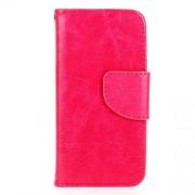 Δερμάτινη Θήκη Πορτοφόλι με Βάση Στήριξης με για iPhone 5 5s SE - Φούξια