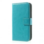Baby Blue Crazy Horse Wallet Leather Cover Stand for iPhone 4 4s