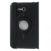 Περιστρεφόμενη Δερμάτινη Θήκη Βιβλίο με Βάση Στήριξης για Samsung Galaxy Tab 3 7.0 Lite T110 T111 - Μαύρο