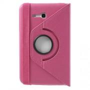 Περιστρεφόμενη Δερμάτινη Θήκη Βιβλίο με Βάση Στήριξης για Samsung Galaxy Tab 3 7.0 Lite T110 T111 - Φούξια