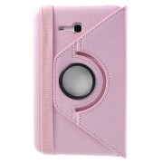 Pink Rotary Stand Lychee Leather Cover for Samsung Galaxy Tab 3 7.0 Lite T110 T111 w/ Elastic Band