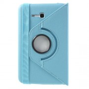 Light Blue for Samsung Galaxy Tab 3 7.0 Lite T110 T111 Rotary Stand Lychee Leather Cover w/ Elastic Band