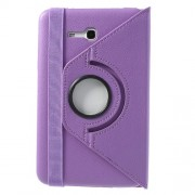 Purple for Samsung Galaxy Tab 3 7.0 Lite T110 T111 Rotary Stand Lychee Leather Shell w/ Elastic Band