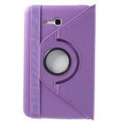 Περιστρεφόμενη Δερμάτινη Θήκη Βιβλίο με Βάση Στήριξης για Samsung Galaxy Tab 3 7.0 Lite T110 T111 - Μωβ