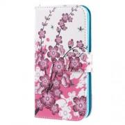 Δερμάτινη Θήκη Πορτοφόλι με Βάση Στήριξης για Samsung Galaxy S5 mini G800 - Φούξια Άνθη Κερασιάς σε Λευκό Φόντο