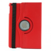 360 Degree Rotating Litchi Leather Stand Case for iPad Air - Red