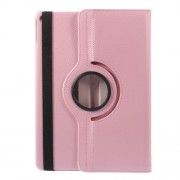 360 Degree Rotary Stand Litchi Grain Leather Flip Cover for iPad Air 2 - Pink