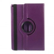 360 Degree Rotary Stand for iPad Air 2 Litchi Grain Leather Case Cover - Purple