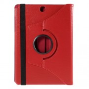 Lychee Grain Leather Rotary Stand Shell for Samsung Galaxy Tab A 9.7 T550 T555 - Red