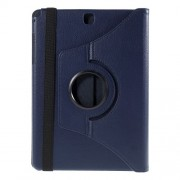 For Samsung Galaxy Tab A 9.7 T550 T555 Lychee Leather Cover with Rotary Stand - Deep Blue