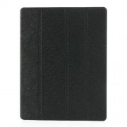 Black Four-Fold Silk Grain Leather Stand Case for iPad 2 / The New iPad / iPad 4
