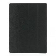 Δερμάτινη Θήκη Βιβλίο με Βάση Στήριξης (Όψη Μεταξιού) για iPad 2 3 4 - Μαύρο