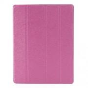 Δερμάτινη Θήκη Βιβλίο με Βάση Στήριξης (Όψη Μεταξιού) για iPad 2 3 4 - Φούξια