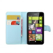 Blue Litchi Grain Wallet PU Leather Stand Cover for Nokia Lumia 630