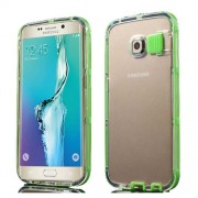 For Samsung Galaxy S6 Edge G925 Incoming Call Flash PC + TPU Shell Case - Green