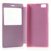 Δερμάτινη Θήκη Βιβλίο Smart Cover με Βάση Στήριξης για Huawei Ascend P8 Lite - Ροζ