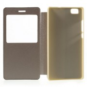 Fiolo View Window Leather Shell Case for Huawei Ascend P8 Lite - Champagne