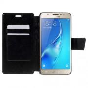 Δερμάτινη Θήκη Πορτοφόλι με Βάση Στήριξης για Samsung Galaxy J7 (2016) - Μαύρο
