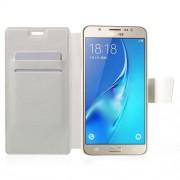 Δερμάτινη Θήκη Πορτοφόλι με Βάση Στήριξης για Samsung Galaxy J7 (2016) - Λευκό