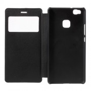 View Window Leather Flip Case for Huawei P9 Lite / G9 Lite - Black