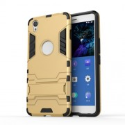 Solid PC + TPU Hybrid Case Shell with Kickstand for OnePlus X - Gold